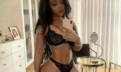 Faith Nketsi poses in black lingerie set