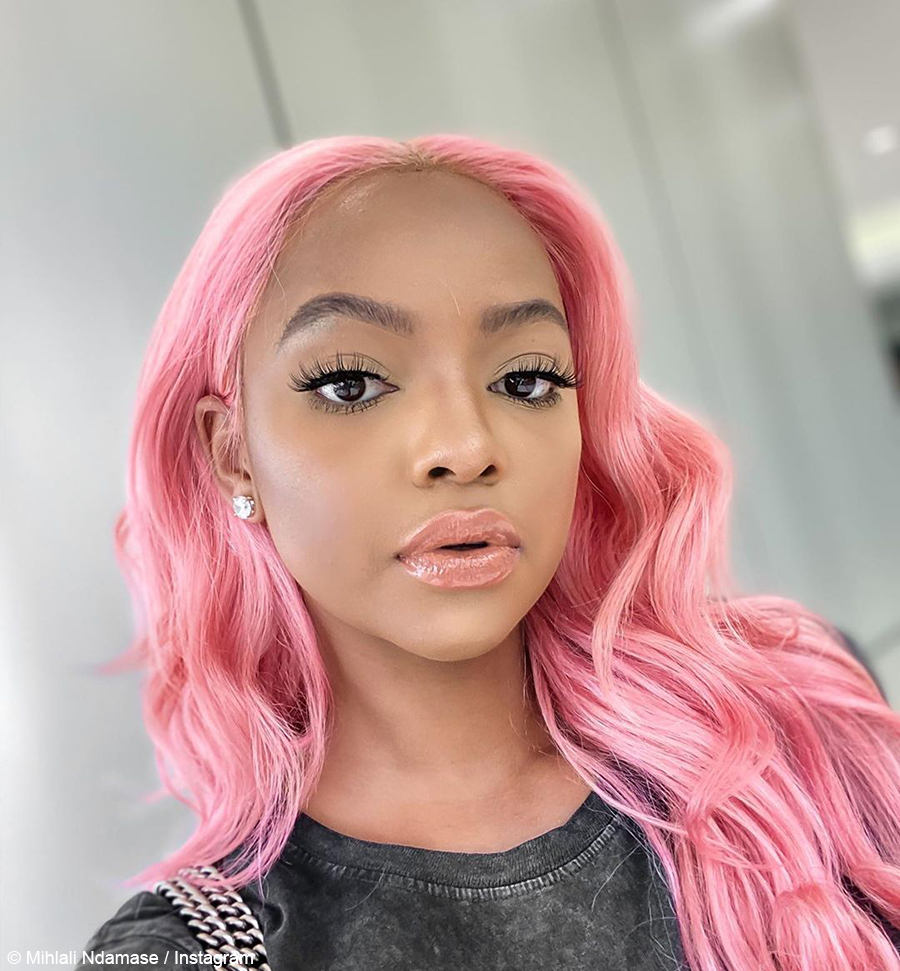 Mihlali Ndamase debuts long, pink wig from Owi Style