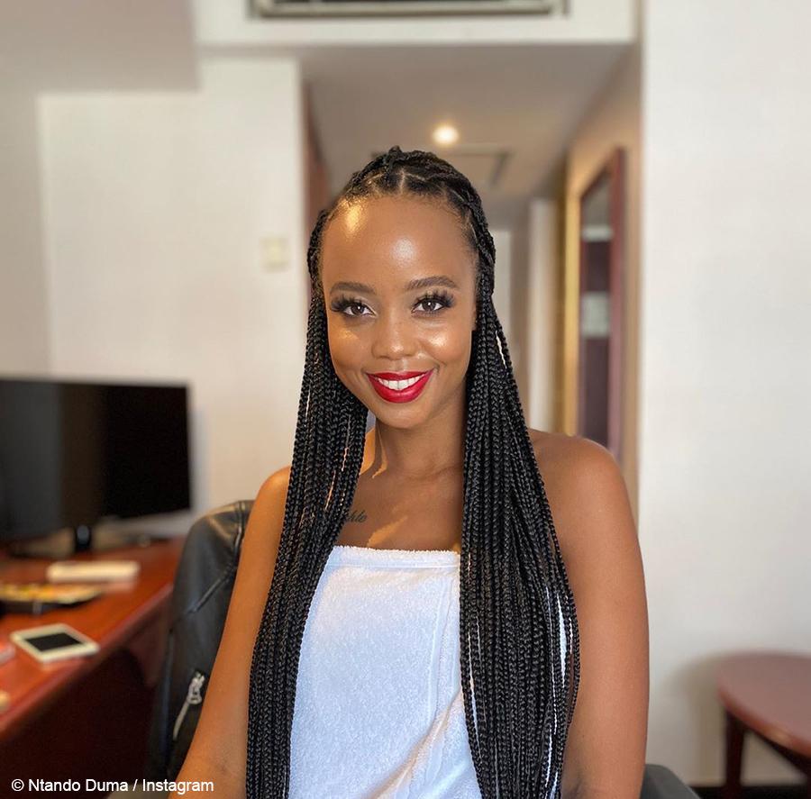 Ntando Duma wears braids and soft glam makeup to SONA 2020