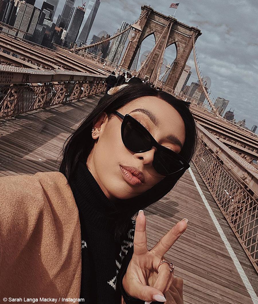 Sarah Langa Mackay wears tan outfit to New York Fashion Week
