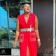 Shauwn Mkhize wears red blazer dress to soccer game between Real Kings and Royal Eagles