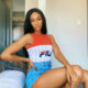 Thabsie pairs denim shorts with Fila top for Metro FM performance
