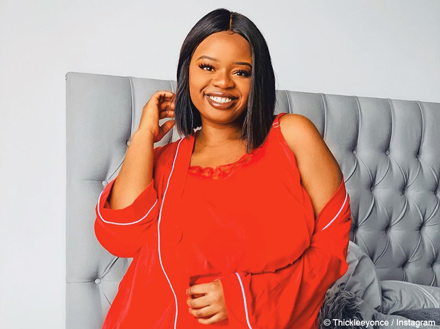 Thickleeyonce showcases red nightdress and gown set from LeeBex