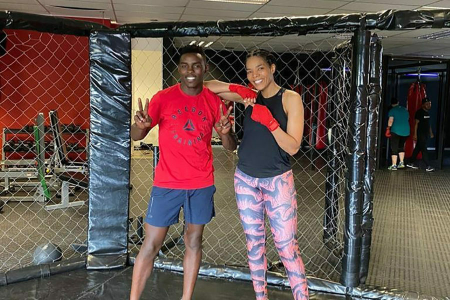 Connie Ferguson works out her biceps whilst boxing with Xolisani Ndongeni - JustNje