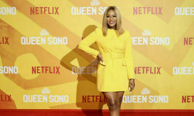 Jessica Nkosi wears yellow blazer dress to Queen Sono premiere