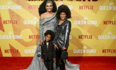 Pearl Thusi attends Queen Sono premiere with family