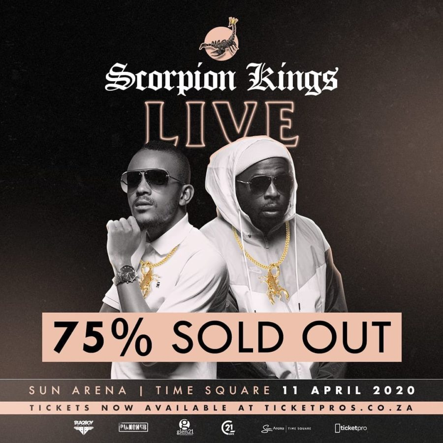 Scorpion Kings Live at the Sun Arena is officially 75% sold out – DJ Maphorisa