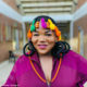Busiswa wears colourful hair accessories for performance at Kirstenbosch National Botanical Gardens
