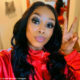 Candice Modiselle wears long, black wig and makeup by Thato Aphane
