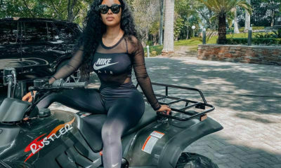 Kefilwe Mabote poses on quad bike in Nike outfit with see-through top