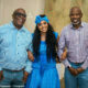 Lerato Kganyago wears long, curly wig and blue headscarf to traditional wedding ceremony