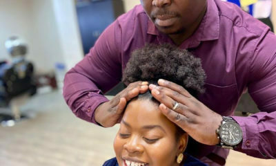 Uzalo's Siyabonga Shibe reveals he used to own a hair salon, whilst styling Nombulelo's afro