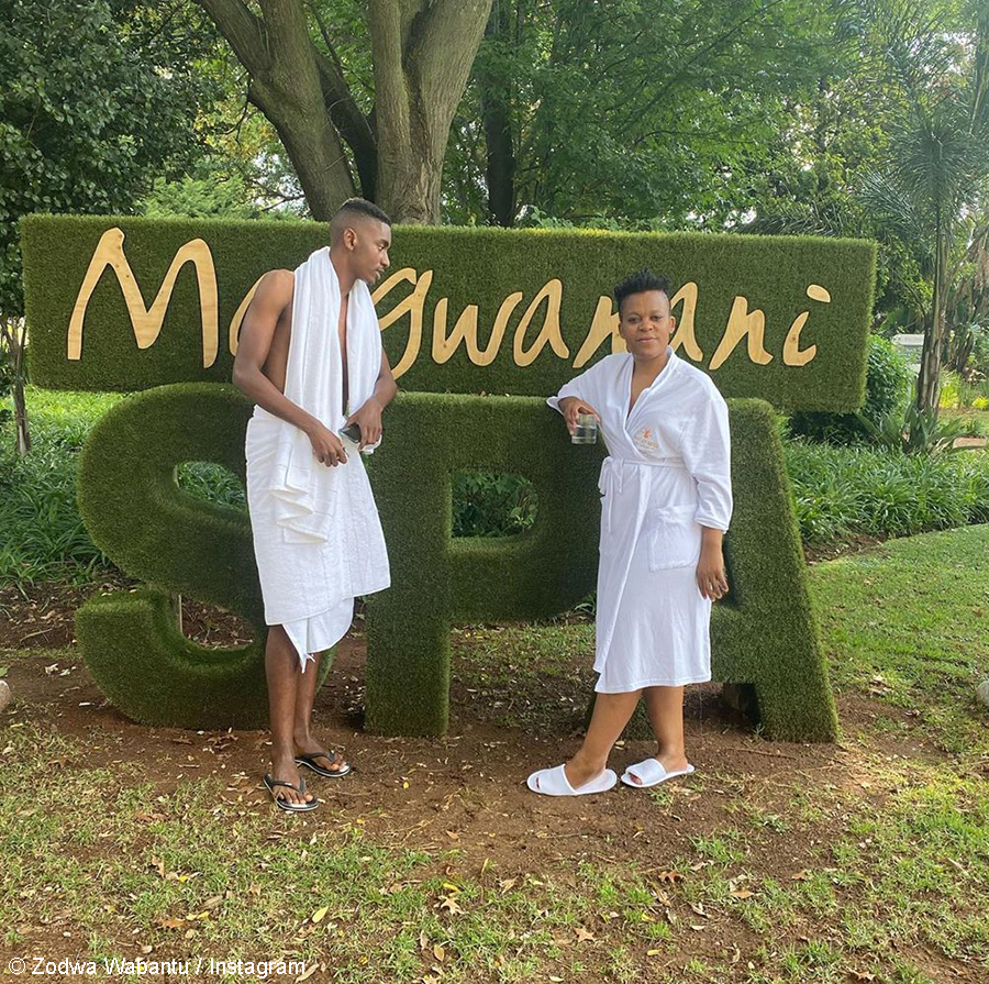 Zodwa Wabantu practices social distancing with boyfriend, Vusi Ngubane, at Mangwanani Spa