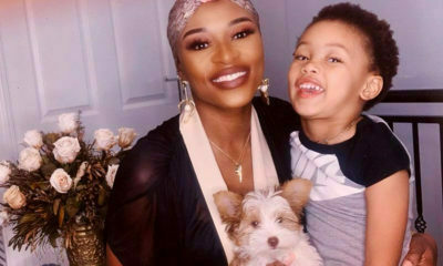 DJ Zinhle wears full face of makeup at home with daughter, Kairo Forbes, and puppy, Kleo